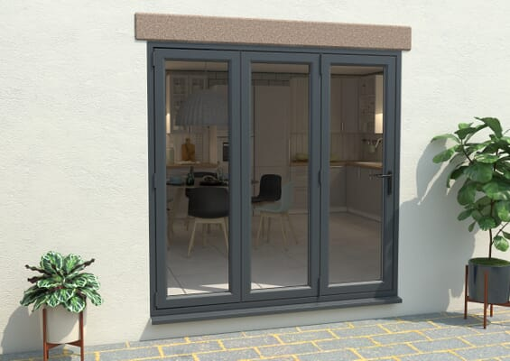Grey / White 2100mm UPVC Bi-Fold Door OPEN OUT 3L