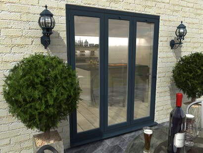 Climadoor Grey Aluminium Bi-folding Patio Doors Image