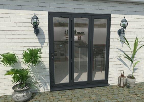 1800mm Grey Aluminium Bifold Door - 3 Right