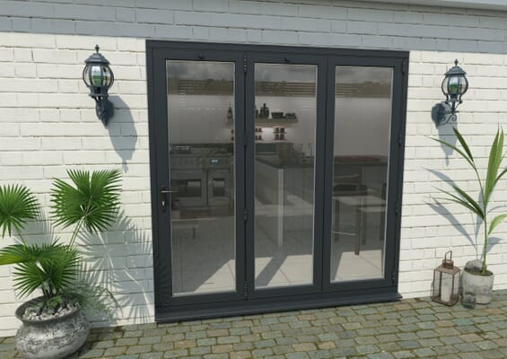 2100mm Grey Aluminium Bifold Doors - 3 Right