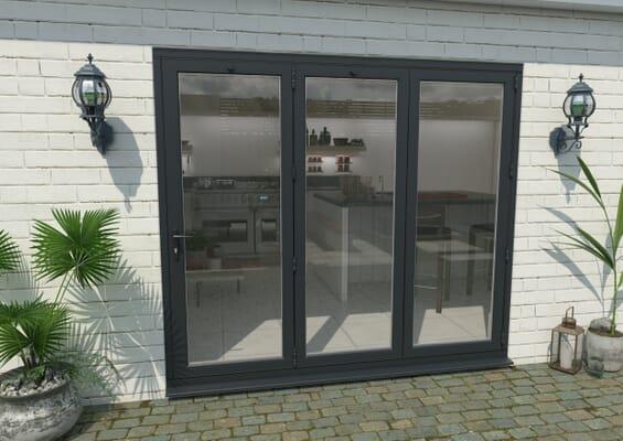 2400mm Grey Aluminium Bifold Doors - 3 Right