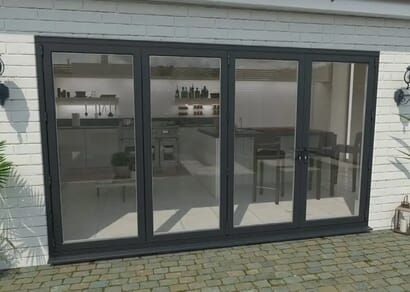 Climadoor Grey Aluminium Bi-folding Patio Doors