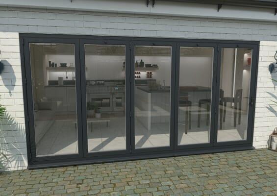 4200mm Grey Aluminium Bifold Doors - 5 Left