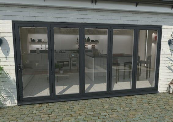 4200mm Grey Aluminium Bifold Doors - 5 Right