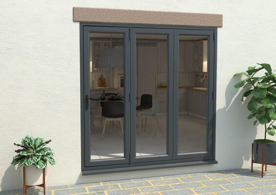 Grey 2100mm UPVC Bi-Fold Door OPEN OUT 3R