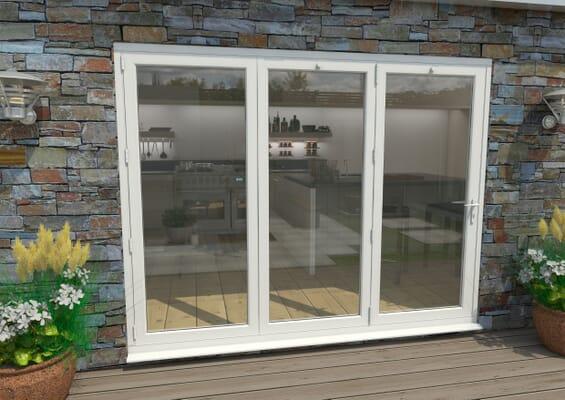 2700mm White Aluminium Bifold Doors - 3 Left