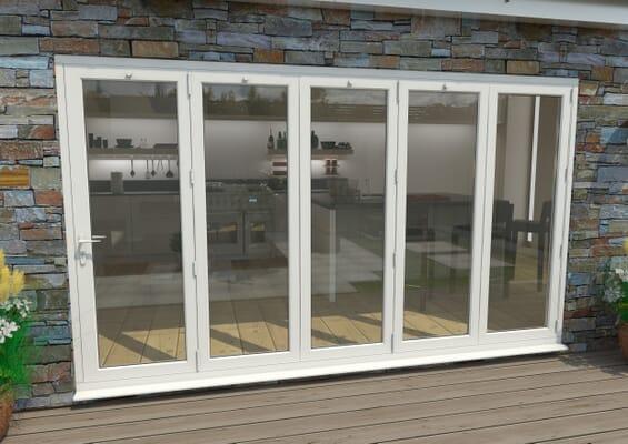 3600mm White Aluminium Bifold Doors - 5 Right