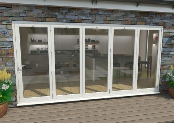 4200mm White Aluminium Bifold Doors - 5 Right