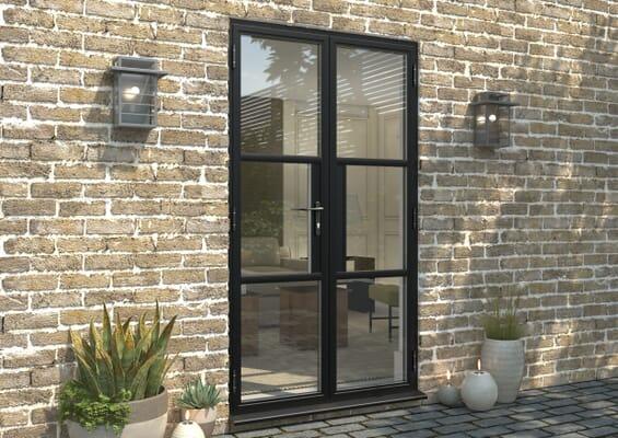 1200mm Black Heritage Aluminium French Doors