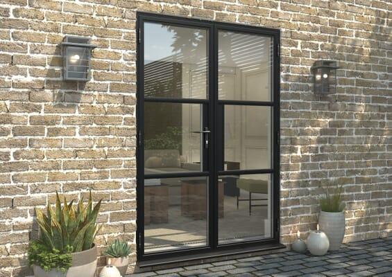 1500mm Black Heritage Aluminium French Doors