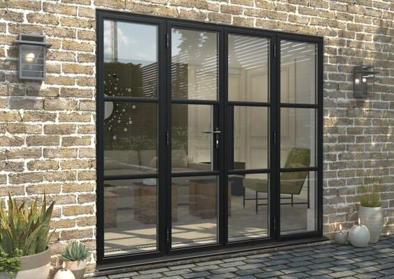2400mm Black Heritage Aluminium French Doors
