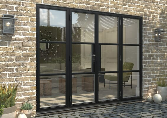2700mm Black Heritage Aluminium French Doors