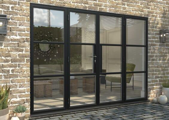 3000mm Black Heritage Aluminium French Doors