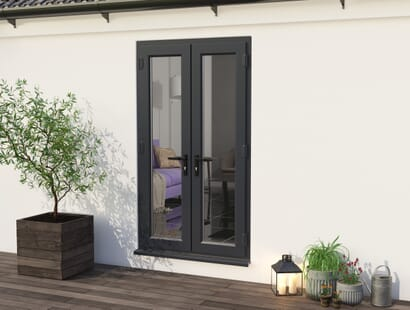 Climadoor Upvc French Doors - Grey Out / White In Image