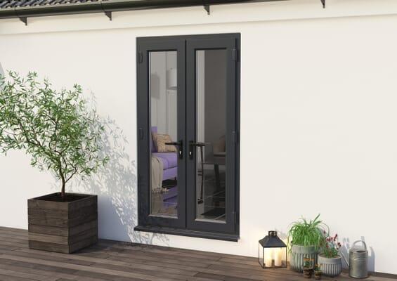 1200mm Part Q UPVC Grey Outer / White inner French Doors
