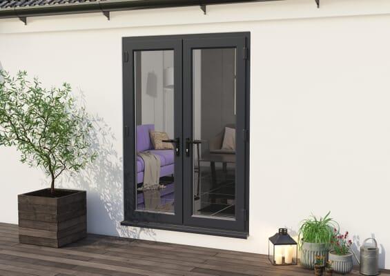 1500mm Part Q UPVC Grey Outer / White inner French Doors