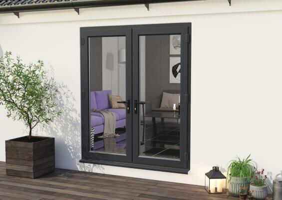 1800mm Part Q UPVC Grey Outer / White inner French Doors