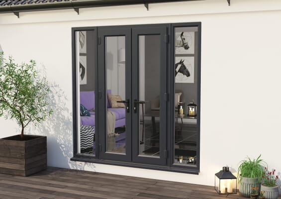 2100mm Part Q UPVC Grey Outer / White inner French Doors (1500mm Doors + 2 x 300mm Sidelights)
