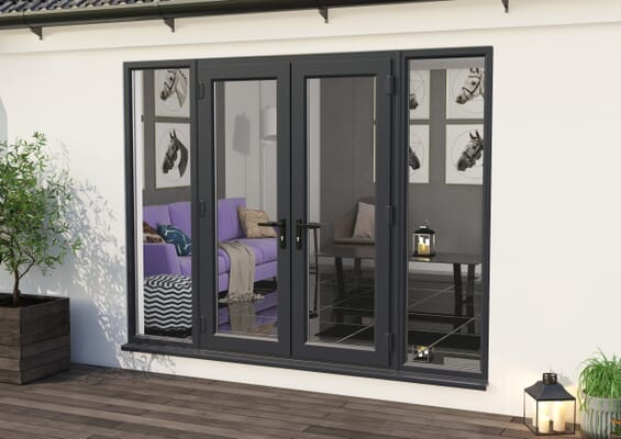 2400mm Part Q UPVC Grey Outer / White inner French Doors (1200mm Doors + 2 x 600mm Sidelights)