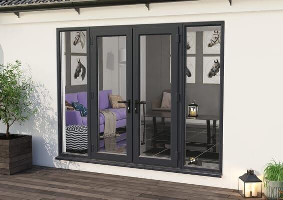 2700mm UPVC Grey Outer / White inner French Doors (1500mm Doors + 2 x 600mm Sidelights)