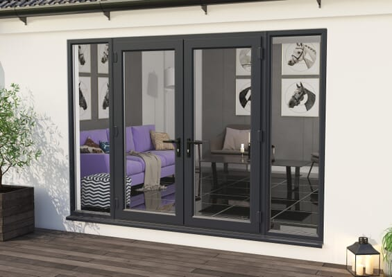3000mm Part Q UPVC Grey Outer / White inner French Doors (1800mm Doors + 2 x 600mm Sidelights)