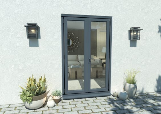 1200mm Open Out Grey Aluminium French Doors