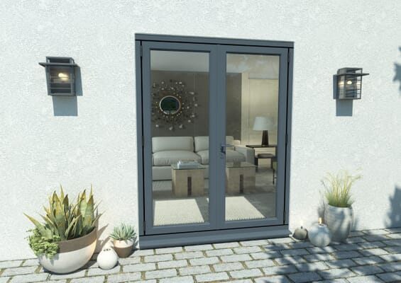 1500mm Open Out Grey Aluminium French Doors