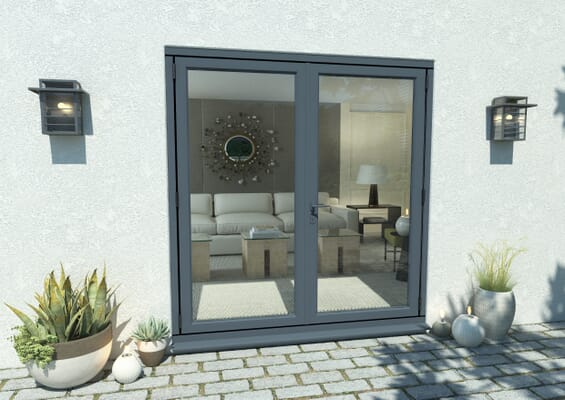 1800mm Open Out Grey Aluminium French Doors
