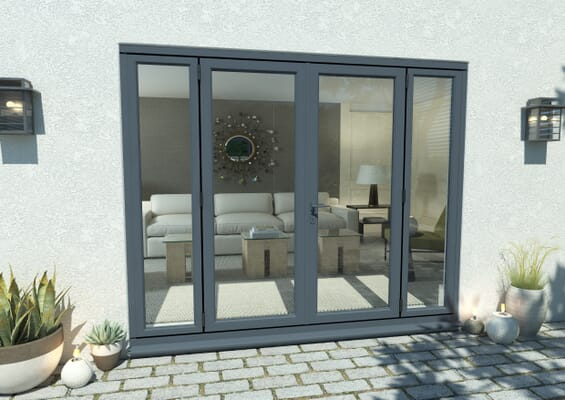 2100mm Open Out Grey Aluminium French Doors (1500mm Doors + 2 x 300mm Sidelights)