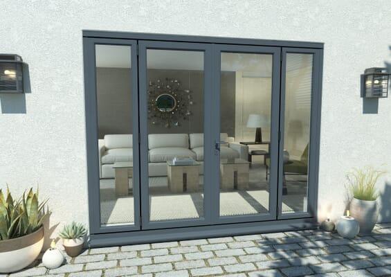 2100mm Part Q Compliant Grey Aluminium French Doors (1500mm Doors + 2 x 300mm Sidelights)