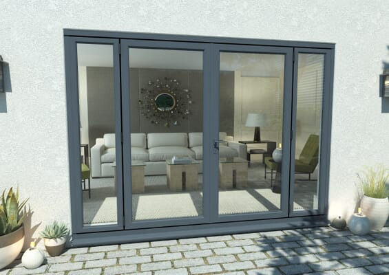 2400mm Open Out Grey Aluminium French Doors (1800mm Doors + 2 x 300mm Sidelights)