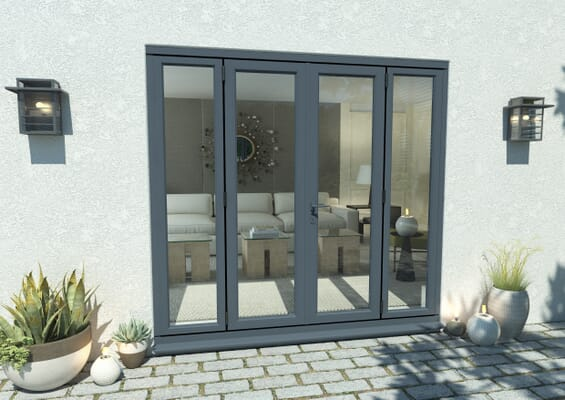 2400mm Open Out Grey Aluminium French Doors (1200mm Doors + 2 x 600mm Sidelights)