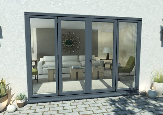 2700mm Open Out Grey Aluminium French Doors (1500mm Doors + 2 x 450mm Sidelights)