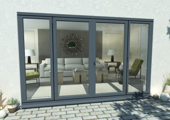 3000mm Open Out Grey Aluminium French Doors (1800mm Doors + 2 x 600mm Sidelights)