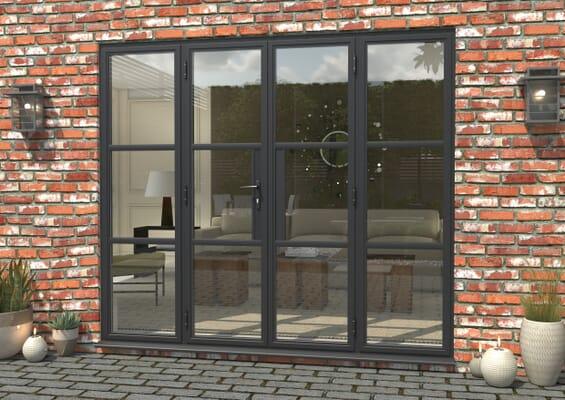 2400mm Grey Heritage Aluminium French Doors