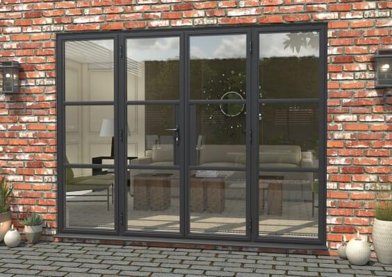 2700mm Grey Heritage Aluminium French Doors