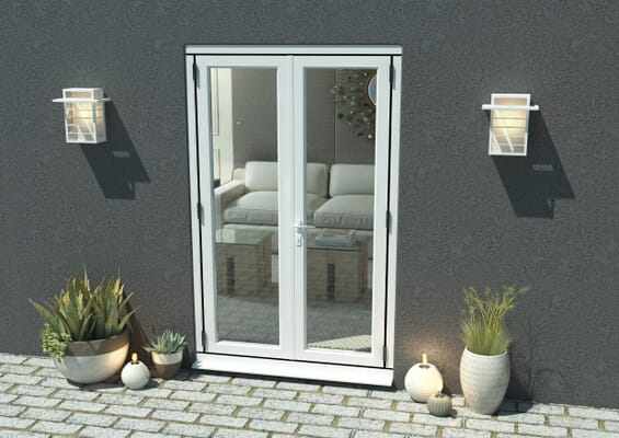 1200mm Open Out White Aluminium French Doors