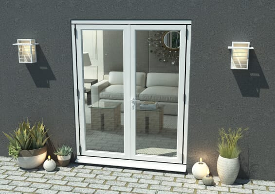 1500mm Open Out White Aluminium French Doors
