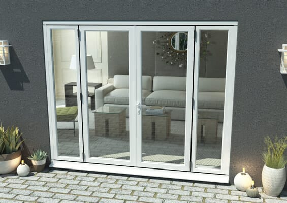 2400mm Open Out White Aluminium French Doors (1800mm Doors + 2 x 300mm Sidelights)