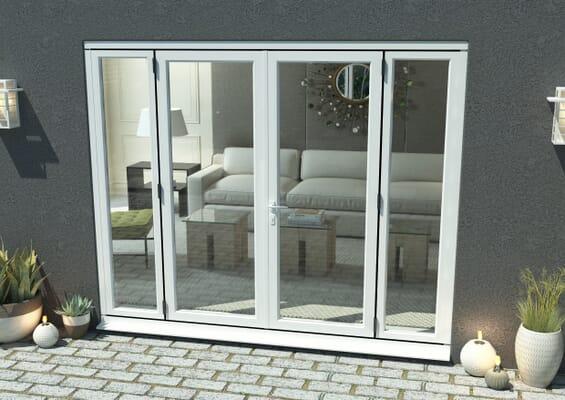 2400mm Part Q Compliant White Aluminium French Doors (1500mm Doors + 2 x 450mm Sidelights)