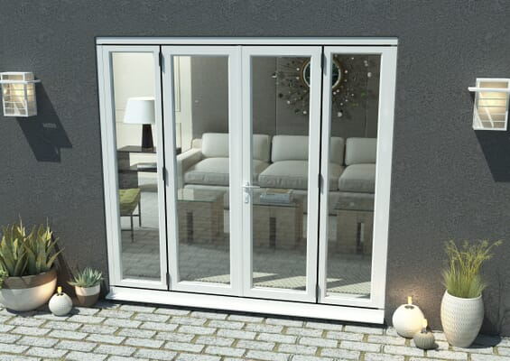 2400mm Open Out White Aluminium French Doors (1200mm Doors + 2 x 600mm Sidelights)