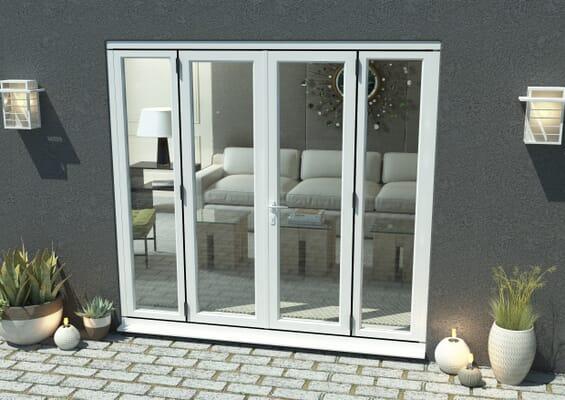 2400mm Part Q Compliant White Aluminium French Doors (1200mm Doors + 2 x 600mm Sidelights)