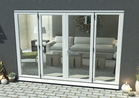 2700mm Open Out White Aluminium French Doors (1500mm Doors + 2 x 600mm Sidelights)