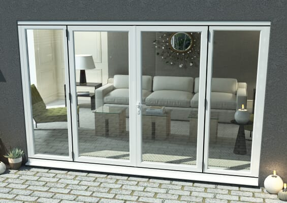 3000mm Open Out White Aluminium French Doors (1800mm Doors + 2 x 600mm Sidelights)