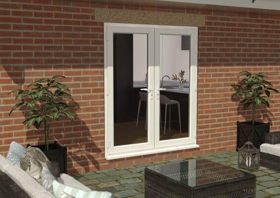 1800mm White UPVC French Doors