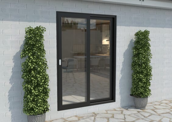 Part Q 1500mm Black Aluminium Sliding Doors LH Sliding / RH Fixed