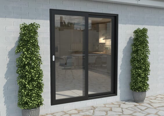 Part Q 1800mm Black Aluminium Sliding Doors LH Sliding / RH Fixed