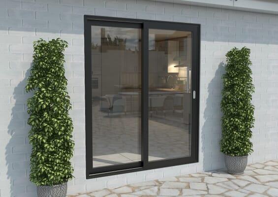1800mm Black Aluminium Sliding Doors RH Sliding / LH Fixed