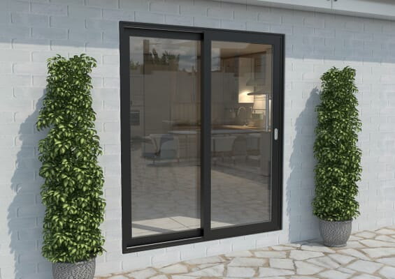 Part Q 1800mm Black Aluminium Sliding Doors RH Sliding / LH Fixed