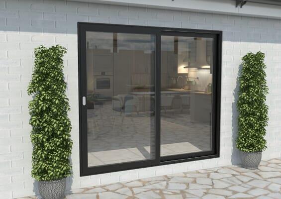 Part Q 2100mm Black Aluminium Sliding Doors LH Sliding / RH Fixed
